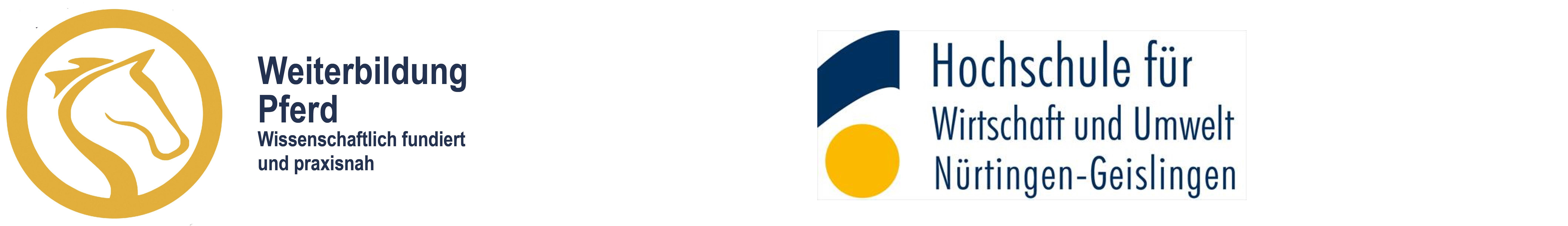 Logo der Weiterbildung Pferd und HfWU Hochschule für Wirtschaft und Umwelt Nürtingen-Geislingen