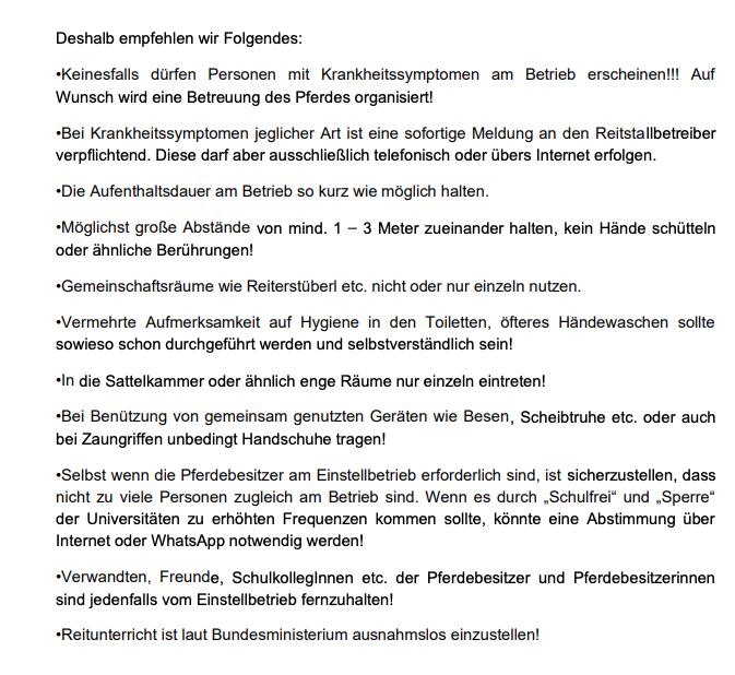 """Empfehlungen der """"Pferdezucht-Austria"""" für den Umgang im Reitstall in Zeiten des Corona-Virus"""