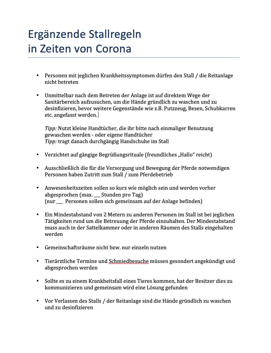 Ergänzende Stallregeln in Zeiten von Corona - als PDF zum Ausdrucken für den Stall