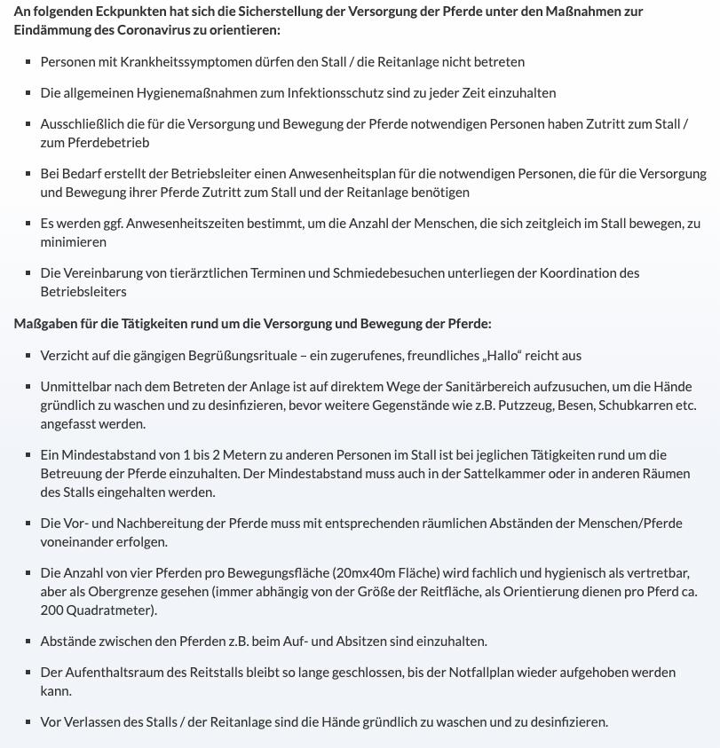Empfehlungen der FN für das Verhalten in Reitställen zu Zeiten des Coronavirus